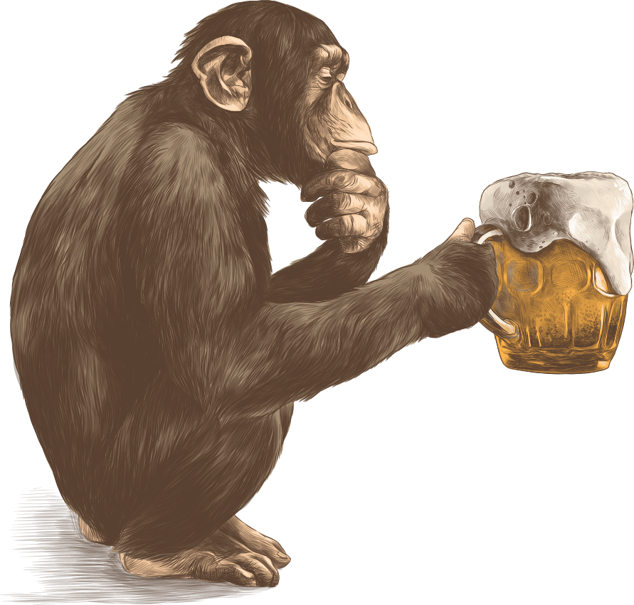 Illustrated monkey holding a mug of beer.